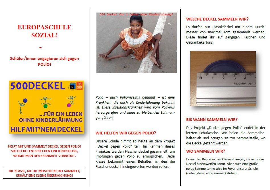 Flyer - Deckelsammlung gegen Polio